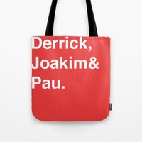 chicago bulls Tote Bags featuring Chicago Bulls by Will Wild