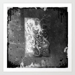 Blossom wolf: BW Art Print