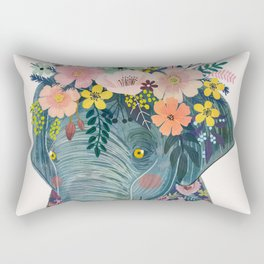 Elephant with flowers on head Rectangular Pillow