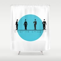 chaplin Shower Curtains featuring Stencil Charlie Chaplin by L & T Designs