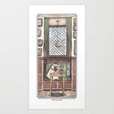 Pug in a Pub Art Print