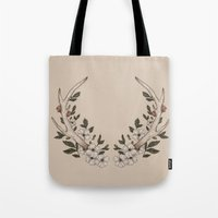 antler Tote Bags featuring Floral Antler by Jessica Roux