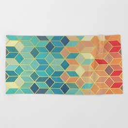 Colorful Squares with Gold - Friendly Colors and Marble Texture Beach Towel