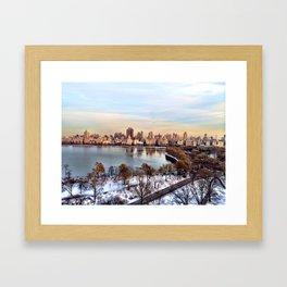 snow in the park Framed Art Print