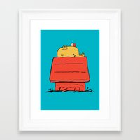 snoopy Framed Art Prints featuring Snoopy Time! by penguinline