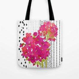 Vibrant Pink Geranium on Black and White Geometric Ground Tote Bag