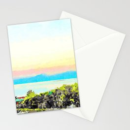 Scalea: landscape at sunset with sea and mountain Stationery Cards