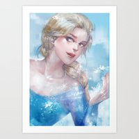 frozen elsa Art Prints featuring Frozen Elsa by x3uu