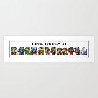 final fantasy Art Prints featuring Final Fantasy II Characters by Nerd Stuff