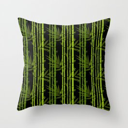 Green Bamboo Shoots and Leaves Pattern on Black Throw Pillow