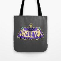 skeletor Tote Bags featuring Skeletor cloak by Buby87