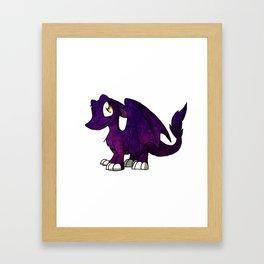 Galaxy SD Furry Dragon - Fantasy Cartoon Kawaii Space Illustration Cute Framed Art Print