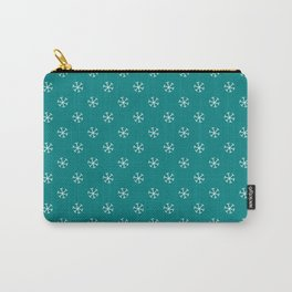 White on Teal Green Snowflakes Carry-All Pouch