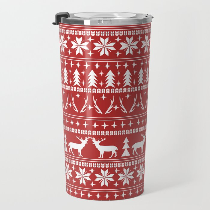Deer christmas fair isle camping pattern snowflakes minimal winter seasonal holiday gifts Travel Mug