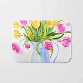 Watercolor vase of tulips Bath Mat