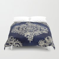 abstract art Duvet Covers featuring Cream Floral Moroccan Pattern on Deep Indigo Ink by micklyn
