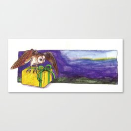 Owl with Yellow Present Canvas Print