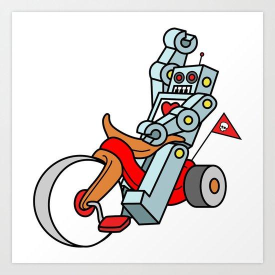 Hot Wheeling Robot Love Art Print