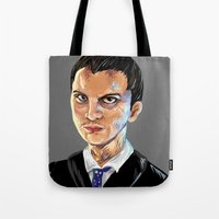 moriarty Tote Bags featuring Jim Moriarty by Allie Morris