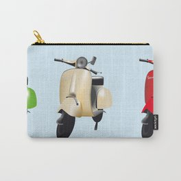 Three Vespa scooters in the colors of the Italian flag Carry-All Pouch