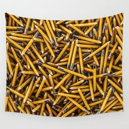 Pencil it in / 3D render of hundreds of yellow pencils Wall Tapestry