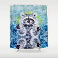 raccoon Shower Curtains featuring Raccoon by Alina Rubanenko