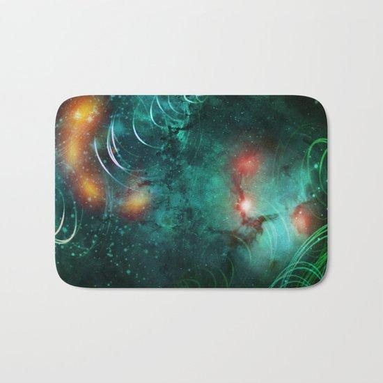 Turquoise Nebula Abstract Bath Mat
