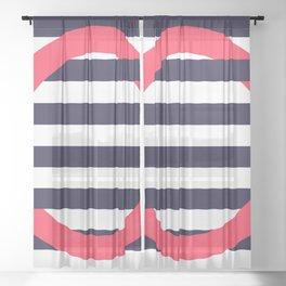 GEOMETRY RED&BLUE III Sheer Curtain