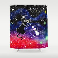 space cat Shower Curtains featuring Space Cat by Andrew Hitchen