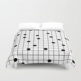 Dot Grid map art print black and white minimal modern pop trendy urban brooklyn design streets new y Duvet Cover