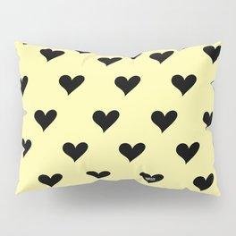 Retro Hearts Pattern Pastel Yellow Pillow Sham