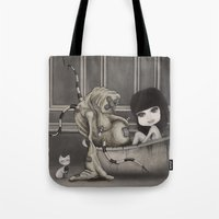 "dirty dancing Tote Bags featuring ""Dirty"" by Wick Bennett"