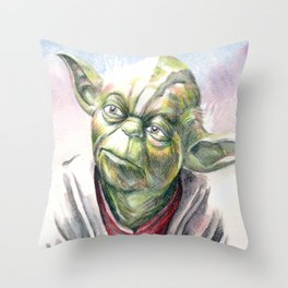 Yoda by Aaron Bir Throw Pillow
