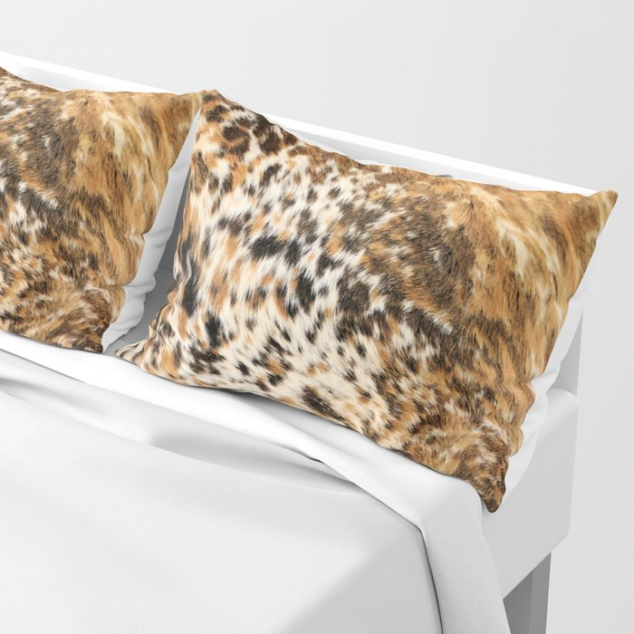 Rustic Country Western Texas Longhorn Cowhide Rodeo Animal Print Pillow Sham