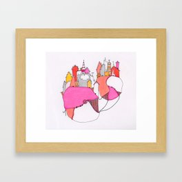 Pink city lights Framed Art Print