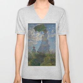 Woman with a Parasol, Monet Unisex V-Neck