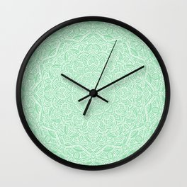 Most Detailed Mandala! Mint Green Color Intricate Detail Ethnic Mandalas Zentangle Maze Pattern Wall Clock