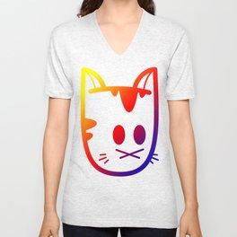 Big Ol' Cat Logo: With Moar Rainbows! Unisex V-Neck