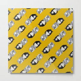 Black and White Kokeshi with Yellow Background Metal Print