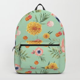 Hand painted coral yellow watercolor geometric floral Backpack