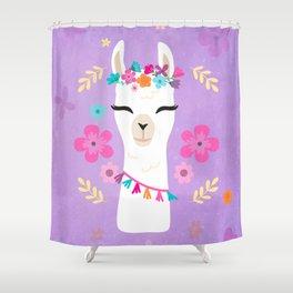 Cute Happy Llama - Purple Boho Alpaca with Flowers Shower Curtain