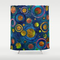 luigi Shower Curtains featuring Full of Golden Dots - color variation by Klara Acel