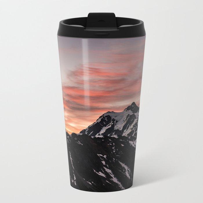 Pink Sky - Cascade Mountains Metal Travel Mug