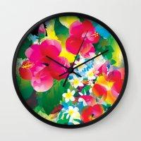 hawaiian Wall Clocks featuring Hawaiian jungle by Akwaflorell