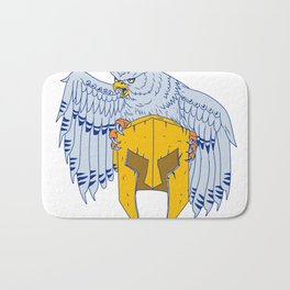 Horned Owl Clutching Spartan Helmet Drawing Bath Mat
