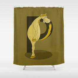 Pony Monogram Letter P Shower Curtain