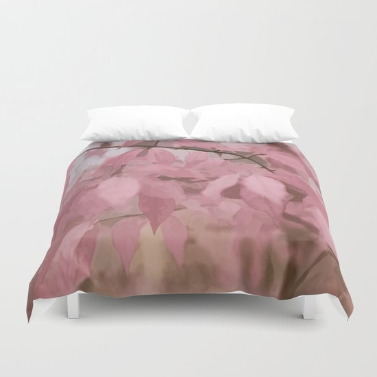Soft Pastel Leaves  Duvet Cover