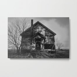 School's Out - Abandoned Schoolhouse in Iowa in Black and White Metal Print