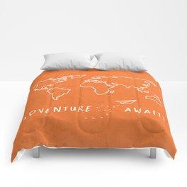 Adventure Map - Retro Orange Comforters