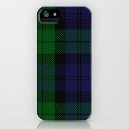 chainsaw blue & green - holiday and everyday black blue tartan black watch plaid check iPhone Case